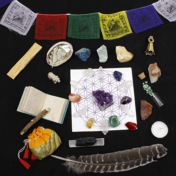 Healing Crystals Meditation Altar Kit 35 Pcs Instruction Guides W Metaphysical Info Chakra Balance Stones Grid Abalone Shell Sage Smudge Feather Spirit Animal Amethyst Cluster Premium Set