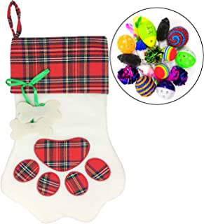 Malier Pet Cat Christmas Stocking Cat Toy Gift Set Large Paw Hanging Christmas Stocking for Cat