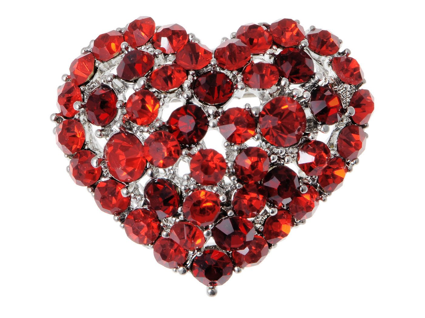 Womens Crystal Rhinestone Valentine Heart Love Brooch Pin