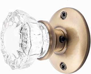 Rousso's Reproductions Crystal Fluted Glass French Door Knob Set as Dummy or Faux Knobs with All Hardware to Install on One Side of Two Doors or Any Two Solid Surfaces (Antique Brass)