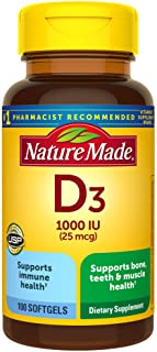 Nature Made Vitamin D3 1000 IU (25 mcg) Softgels, 100 Count for Bone Health