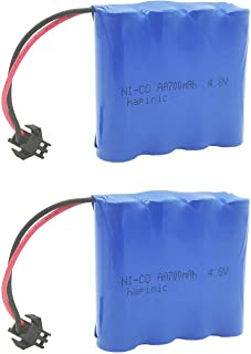 Hapinic 2PCS 4.8V 700mAh RC Car Rechargeable Battery Ni-Cd AA High Capacity Battery Pack for Four Wheels Race Car