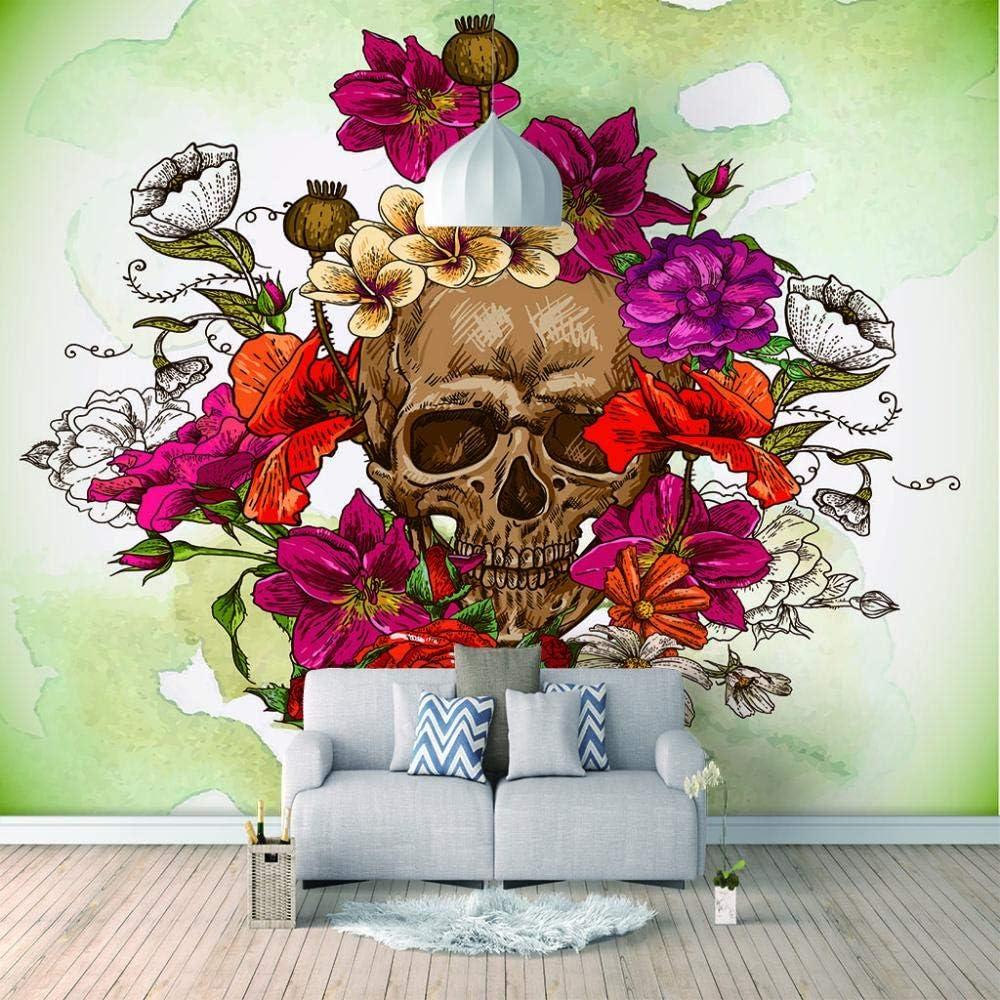 Wall Mural - Skull and Flowers Murals 3D Wallpaper Custom Max 66% OFF Gorgeous Livi