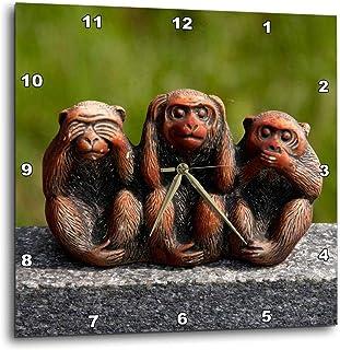 3dRose DPP_112680_1 3 Monkeys, Hear, See, Speak No Evil Wall Clock, 10 by 10-Inch