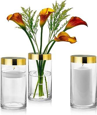 "NEW 6"" Glass Vase Wedding Center Piece Lot Small Decorative Vase Set Of 3 Vases"