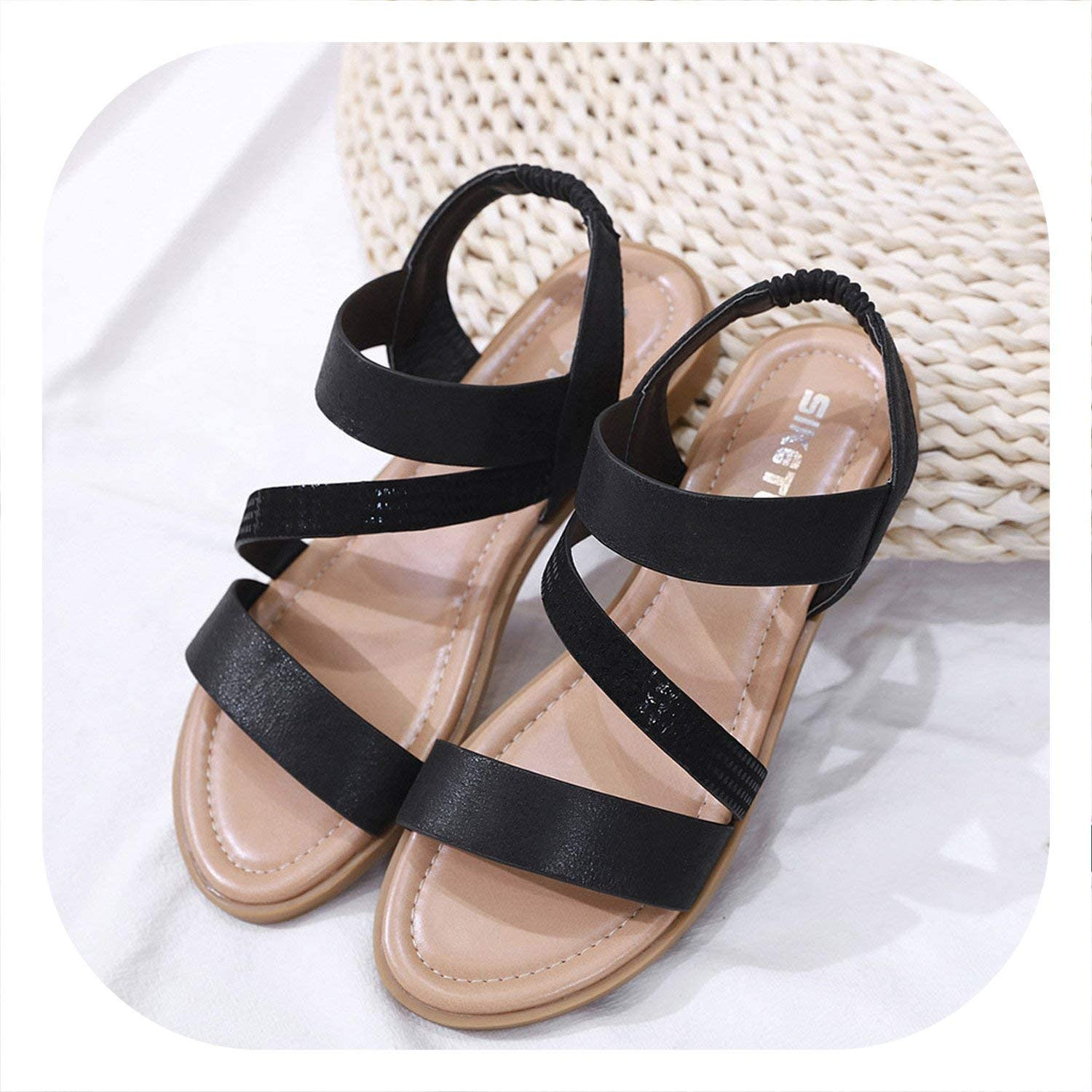 Coolemon 2019 Women Flat Sandals shoes Women Woven Wedge Sandals shoes Ladies Beach Summer Slingback Sandals Flipflops shoes  30