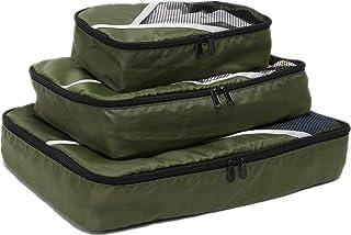 منظمات حقيبة السفر من أسينلين مع حقيبة تخزين ومكعبات لحمل الأمتعة مع 1 كبيرة و1 متوسطة و1 صغيرة، أخضر، مجموعة من 3