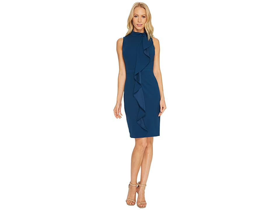 Adrianna Papell Knit Crepe Mock Neck Sheath Dress (Evening Sky) Women