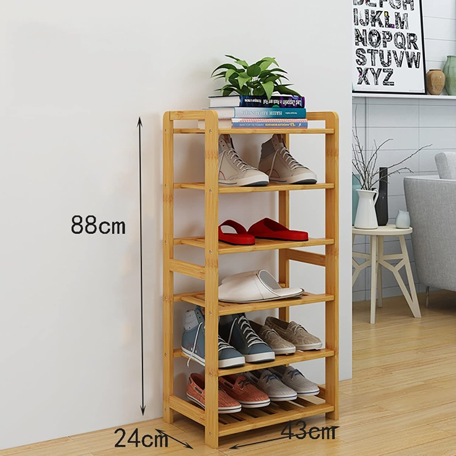 shoes Bench Organizing Rack shoes Rack Bamboo Shelves Multi - Layer dust - Proof Solid Wood shoes Rack Assembly Economical Shelves Home Living Room shoes Cabinet (Size   43cm)