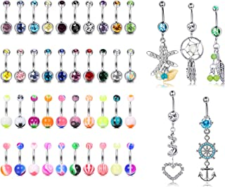 45 Pcs 14G Navel Belly Button Rings Set Mixed CZ Acrylic Bioflex Banana Bar Body Piercing Jewelry Stainless Steel Curved Dangle Navel Rings