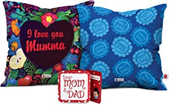 Indigifts Mom Dad Love You Mumma & Sweet Loving Best Dad Multi Cushion Cover 12x12 inch with Filler Set of 2 - Gift for Mother's Day, Mom-Mumma-Dad-Papa-Parents-Birthday, Anniversary