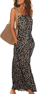 Women's Strapless Floral Print Bohemian Boho Maxi Dress Casual Off Shoulder Long Dresses with Pockets