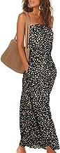 Acelitt Women's Strapless Floral Print Bohemian Boho Maxi Dress Casual Off Shoulder Long Dresses with Pockets