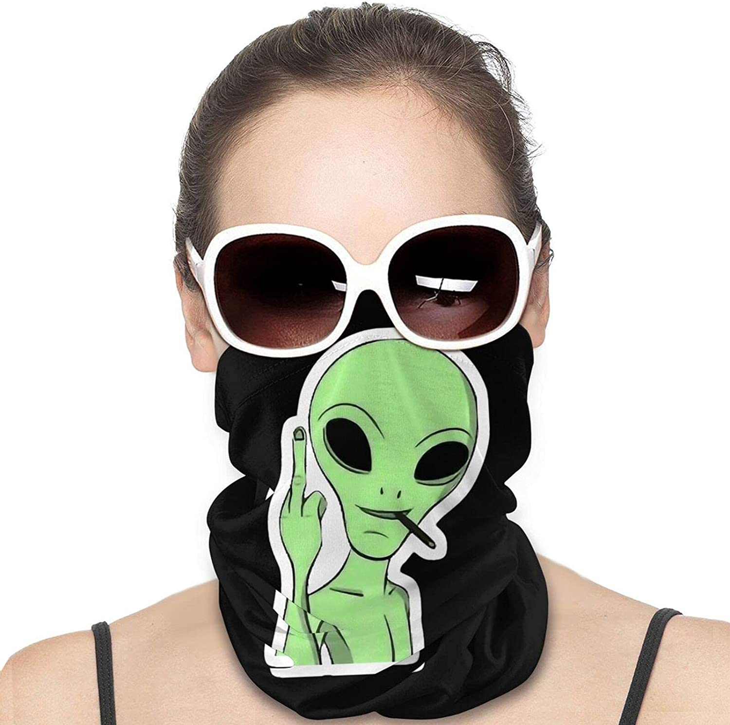 Alien Fuck You Round Neck Gaiter Bandnas Face Cover Uv Protection Prevent bask in Ice Scarf Headbands Perfect for Motorcycle Cycling Running Festival Raves Outdoors