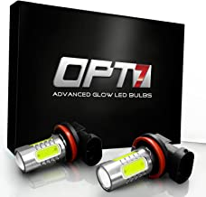 OPT7 Show Glow Plasma H11 H8 H9 H16 LED Fog Light Bulbs - COB 6000K Cool White @ 420Lm per Bulb and Colors - 1 Year Warranty (Pack of 2)