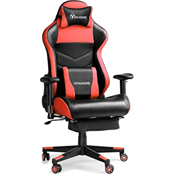 YITAHOME Gaming Chair Ergonomic Racing Style High Back PC Computer Game Chair, Big and Tall Reclining Adjustable Swivel Massage Office Desk Chair with Footrest, Red