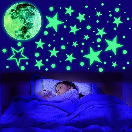 435 Points Lune et Etoiles Phosphorescentes Stickers Fluorescent Lumineux Autocollant Plafond pour Enfants Cadeau Décoration de Chambre d'enfant bébé ou Pépinière