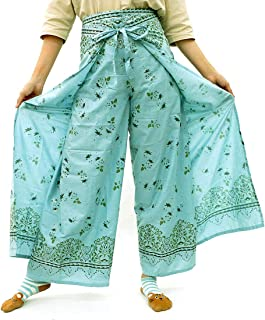 Taruron Women Wrap Around Decorative Glitter Patterns Cotton Summer Casual Pants