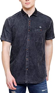 Kuons Avenue Men's Black Cloud Wash Half Sleeve Denim Casual Shirt