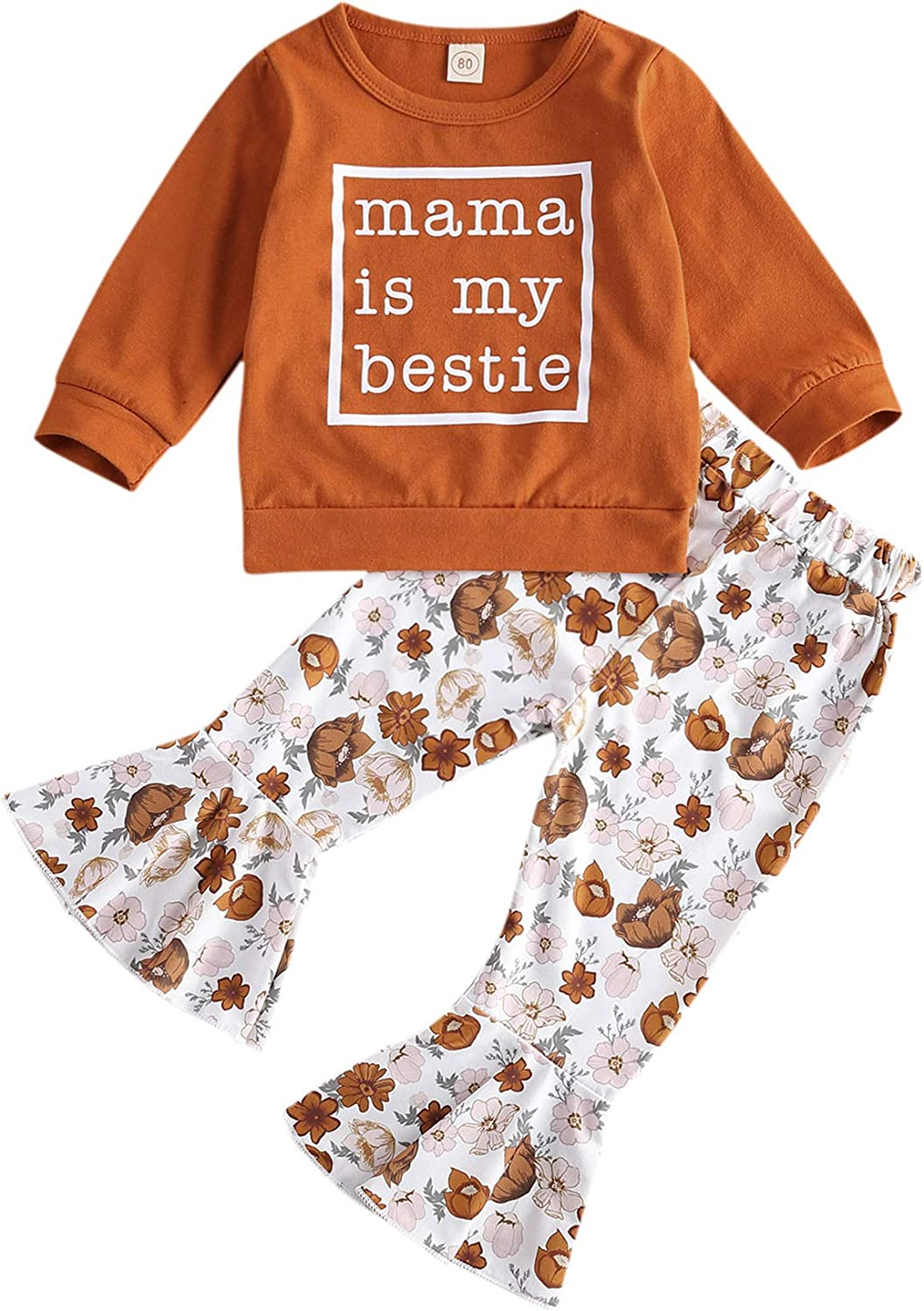 Kids Toddler Baby Girl Outfit Long Sleeve Sweatshirt T-Shirt Tops with Flare Pants 2pcs Set Fall Winter Clothes