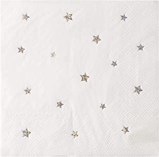 Star Napkins - 50-Pack Silver Glitter Star Decorative Luncheon Paper Napkins, 3-Ply, Starry Party Supplies, Folded 6.5 x 6.5 Inches