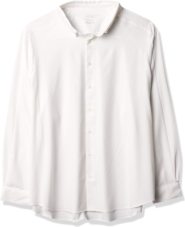 Perry Ellis Men's Motion Big & Tall Slim Fit Crosshatch Stretch Shirt