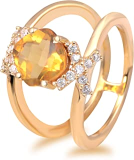 Yellow Citrine And White Cubic Zirconia 2.60 Ct Cushion 925 Sterling Silver Halo Ring Easter Presents For Girls And Women ...
