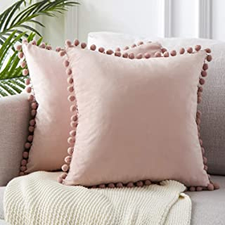 Top Finel Decorative Throw Pillow Covers 22 x 22 Inch Soft Particles Velvet Solid Cushion Covers with Pom-poms for Couch Bedroom Car 55 x 55 cm, Pack of 2, Blush Pink
