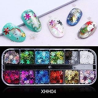 1 box of holographic nail pieces Christmas snowflake nail polish sequins laser chameleon winter design nail decoration (XH...