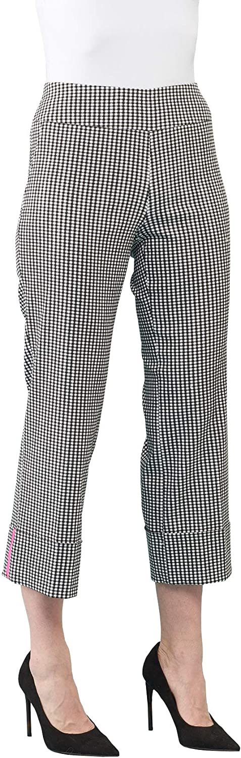 Women's Spring Stretch Pull On Pant with Cuffs and Neon Highlight in Black/White Gingham