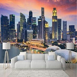 SKTYEE Custom Photo Wallpaper 3D Singapore City Building Night View Mural Living Room Office Telón de fondo Decoración de la pared Modern Creative Fresco, 250x175 cm (98.4 by 68.9 in)