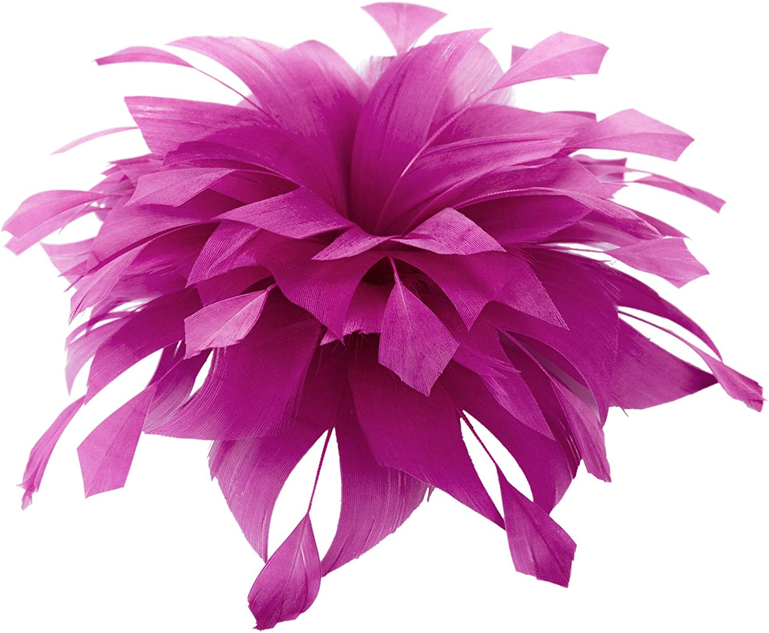 EVITA PERONI Large Purple Flower Fascinator with Natural Feather Elegant Hair Pelician Clip Headwear Party Accessories for Women