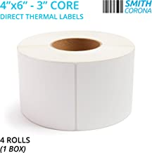 Smith Corona - 4 Rolls - 4'' x 6'' Direct Thermal Labels, 3'' Core, 4000 Labels Total, Made in The USA, for 3