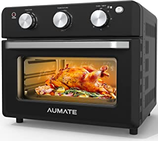 AUMATE Air Fryer Oven,18L Airfryer Toaster Oven,1600W Large Convection Roaster Oven,Multi Air Cooker, Countertop Oven,Rotisserie Oven with Dehydrator,Oilless Electric Oven Knob Control,4 Accessories