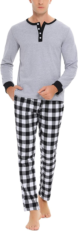 Doaraha Pijama Hombre Algodón Pijamas Cortos/Largos Camiseta y Pantalones Ropa de Dormir Verano Manga Corta/Larga Cuadros Celosía Suave y Cómodo 2 Piezas