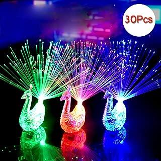 Cade Peacock Finger LED Light Ring for Parties Cheering Novelty Toys Gift for Kids, 30 Pcs