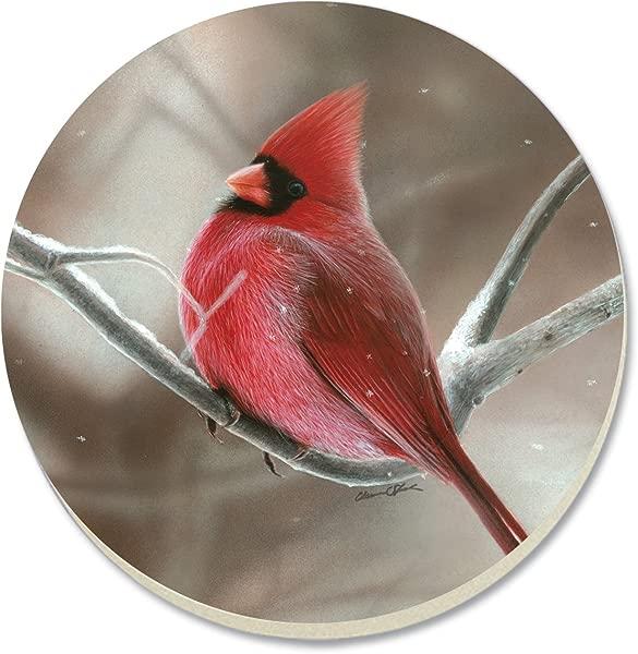 CounterArt Decorative Absorbent Coasters Winter Cardinal Set Of 4