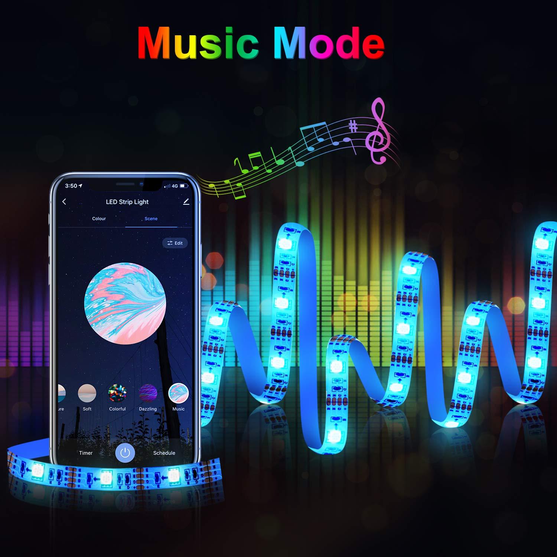 WiFi Tira Led Rgb para TV, Etersky 3M USB Tira Luces Led Decorativas Con Modo Música, Control de Voz y App, Wifi Led Rgb lights Compatible con Ech/Dot/Tap y Google Home, 16