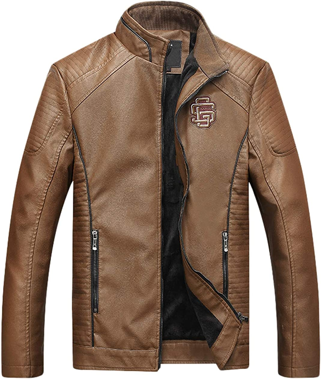 chouyatou Men's Stand Collar Fleece Lined Moto Pu Leather Bomber Jacket Contrast Piping