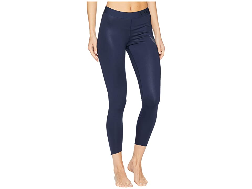 Nike Pro Metallic Graphic 7/8 Crop Tights (Obsidian/Obsidian/Metallic Silver) Women