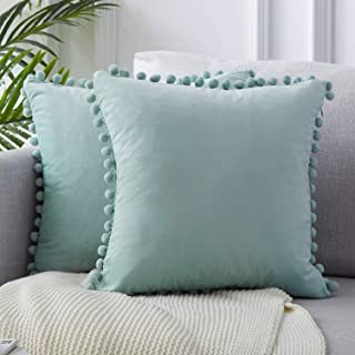 Top Finel Decorative Throw Pillow Covers for Couch Bed Soft Particles Velvet Solid Cushion Covers with Pom-poms 18 x 18 Inch 45 x 45 cm, Pack of 2, Light Blue