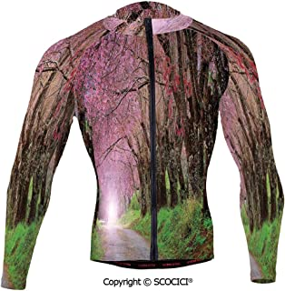 Cycling Jersey Long Sleeves Men,National Park in Chiang Mai Cherry Blossoms Spri