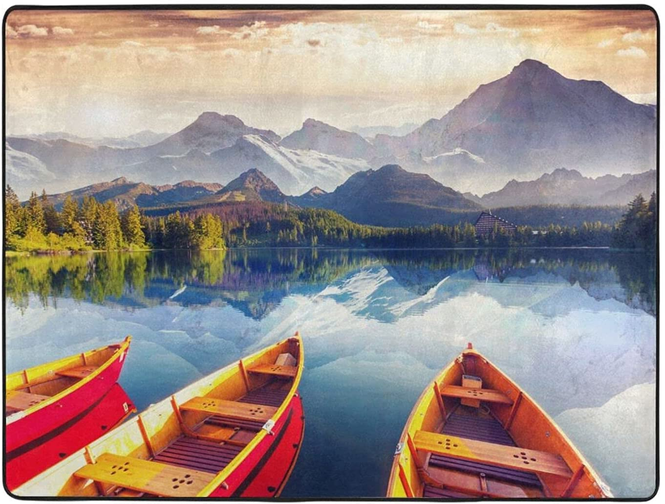 Lzhengsi Super Soft Max 48% OFF Modern Carpet Mountain Superior Boat Print Area Lake