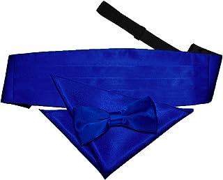 DQT Plain Glossy Satin Wedding Pre-tied Bow Tie, Pocket Square & Cummerbund for Men