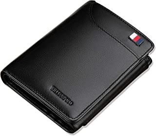 WILLIAMPOLO Men Wallet Genuine Leather Slim Bifold Money Clips Small Front Pocket Men's Wallets Credit Card Holder Organizers ID Window Short Mini Purse (Black)