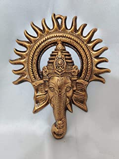Akriti Brass Metal Lord Ganesha Kiran, Ganesh Wall Hanging for Entrance Door, Living Room, Decorative Wall décor; Metal Wa...