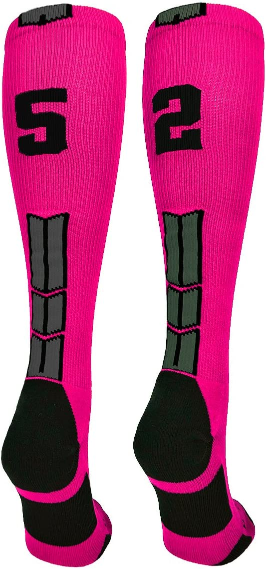 MadSportsStuff Neon Pink and Black Player ID Custom Number Over The Calf Socks for Softball Baseball Football Boys and Girls