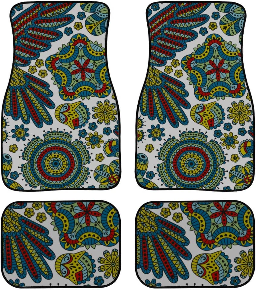 4 Pieces Soft Car Floor Mats Carpet Ethnic Pigeon OFFicial Same day shipping Flower Flo