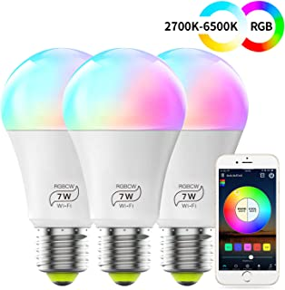 MagicLight Smart WiFi Light Bulb, No Hub Required, Dimmable Multicolor A19 E26 7W (60w Equivalent) Smart Bulb, Compatible with Alexa Google Home Siri IFTTT (3 Pack)