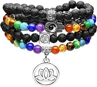 Jovivi 108 Mala Prayer Beads Natural Lava Rock Stone Essential Oil Diffuser Bracelet Necklace 7 Chakra Healing Crystals Yo...